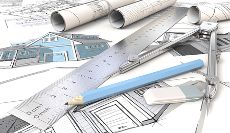 House Design Sketches. Blue Theme Architecturale huistekeningen en schetsen. Rolls, Ruler, Pencil, Eraser and Divider of metal. Ondiepe scherptediepte, 3D render.