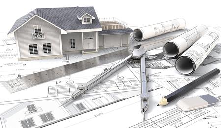 3D Haus auf Design Skizzen und Blaupausen. 3D Haus, Zeichnungen und Skizzen. Rolls, Lineal, Bleistift, Radiergummi und Trenner aus Metall. 3D übertragen.