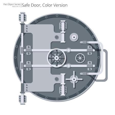 Vlakke veilige en kluisdeur. Vector illustratie van een veilige en kluis deur. Plat ontwerp.