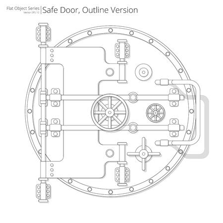Veilige en kluisdeur. Vector illustratie van een veilige en kluis deur. Overzicht versie. Stock Illustratie