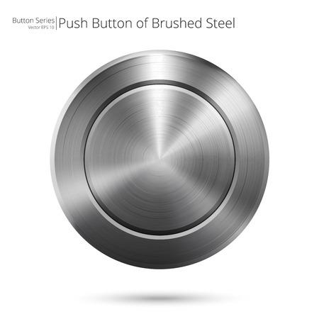 Geborsteld staal Knop. Vectorillustratie van een stalen knop. Geborsteld staal en blanco voor Copy Space. Stock Illustratie