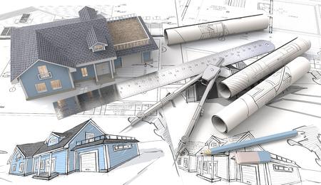 Blaues Haus mit Licht von Fenstern. , Zeichnungen und Skizzen. Rolls, Lineal, Bleistift, Radiergummi und Trenner aus Metall. 3D übertragen. Standard-Bild