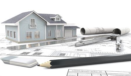 하우스 프로젝트. 창에서 빛과 청와대의 전면 뷰. , 도면 및 스케치. 롤, 통치자, 연필, 지우개 및 금속의 디바이더. 3D 렌더링합니다. 스톡 콘텐츠 - 78944252