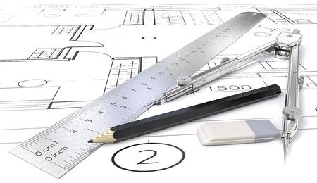 Architectobjecten. Generieke blauwdrukken, tekeningen en schetsen. Heerser, Potlood, Eraser en Divider van metaal. 3D render. Stockfoto