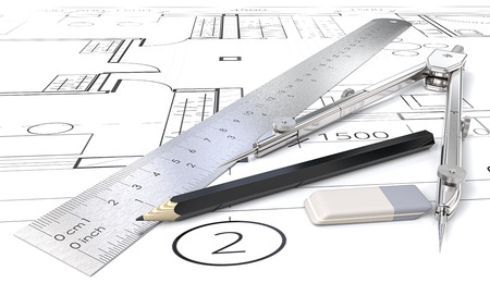 Architektenobjekte Generische Blaupausen, Zeichnungen und Skizzen. Lineal, Bleistift, Radiergummi und Trenner aus Metall. 3D übertragen.