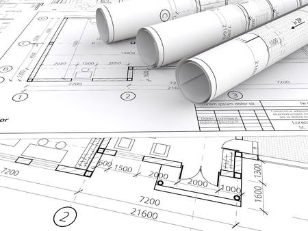 Architectonische blauwdrukken. Generische Architectonische blauwdrukken, tekeningen en schetsen. 3 Rolls. 3D render. Stockfoto