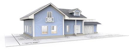 Voorbeeld huis. Blue Generic House met Light from windows ontop van Blueprint. 3D render.