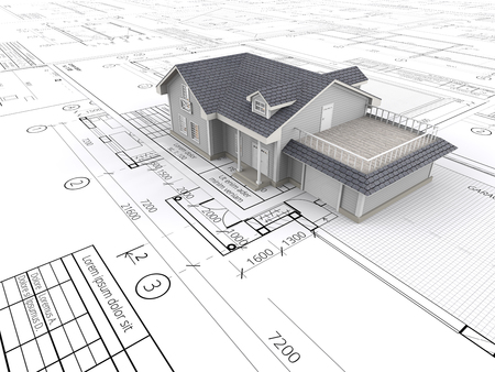 House and Blueprints. Top perspective View of a House ontop of large set of Blueprints. 3D render. Standard-Bild