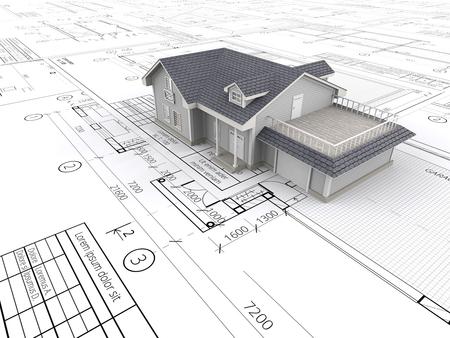 Huis en blauwdrukken. Bovenaanzicht Uitzicht op een huis ontop van grote reeks blauwdrukken. 3D render.