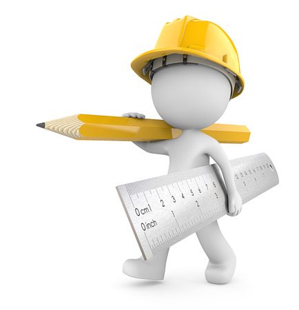 Bauzeit wieder Dude 3D Charakter der Erbauer mit großen Lineal und Bleistift. Gelbes Thema. 3d render