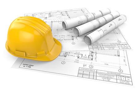 Bouwkundige blauwdrukken. Gele veiligheidshelm bovenop generieke architecturale blauwdrukken, tekeningen en schetsen. 3 rollen. 3D render.