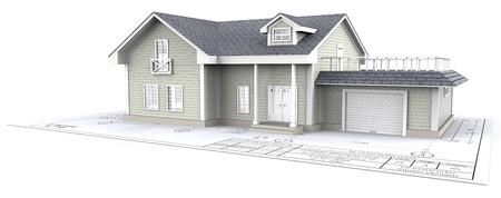 Huis. Green Generic House ontop of Blueprint. 3D render. Stockfoto
