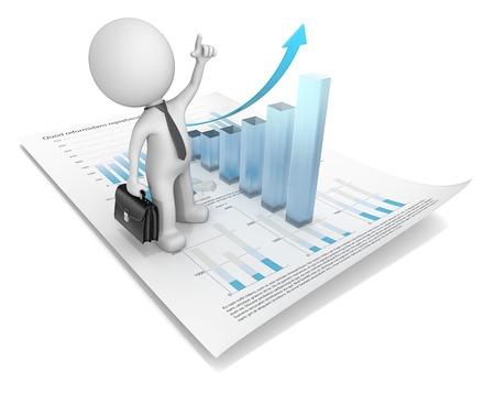 Wachstum. Dude 3D Charakter zeigt auf Finanzdokument mit 3D-Grafik aus Mattglas. 3d render Standard-Bild