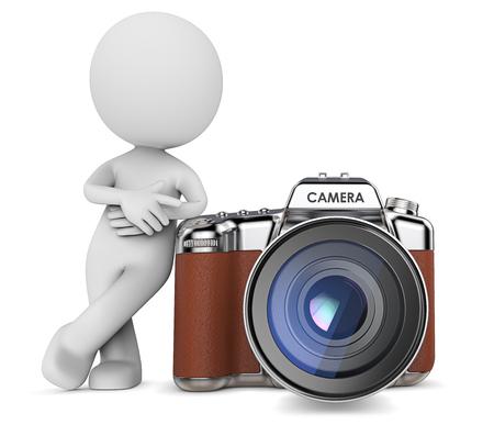 De fotograaf. Dude 3D-karakter, de fotograaf leunend tegen de grote camera. Retro Style Design SLR. 3D Render. Stockfoto