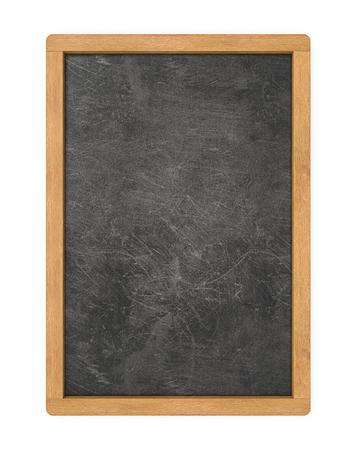 Leere Menüleiste. 3D-Darstellung von Tafel mit Holzrahmen. Zerkratzte und abgenutzte Textur. Leerzeichen für den Kopierbereich.