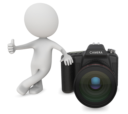 stock agency: Dude 3D character the Photographer holding Thump Up next to SLR Camera. 3d Render. Stock Photo