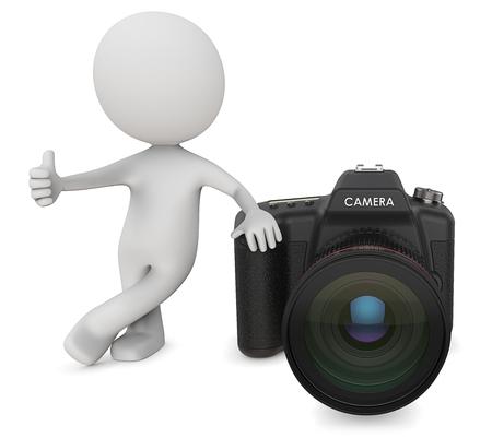 Dude 3D-karakter De fotograaf die Thump Up naast SLR Camera houdt. 3D Render.