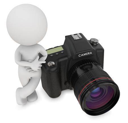 Fotograaf. Dude 3D karakter de fotograaf naast SLR Camera. Bovenaanzicht, 3d Render. Stockfoto