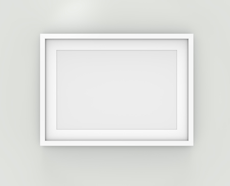 Picture frame on Wall. 3D render of Classic White Frame with white Passe-partout on Wall.  Blank for Copy Space. Stock Photo