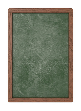 Green Blank Board. 3D render of a Chalkboard with dark wooden frame. Scratched and worn texture. Blank for Copy Space.