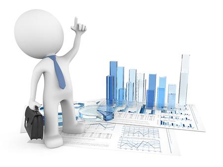 Erfolg. Dude 3D Charakter zeigt auf Finanzdokument mit 3D-Graphen und Pie von blauem Glas. 3d render
