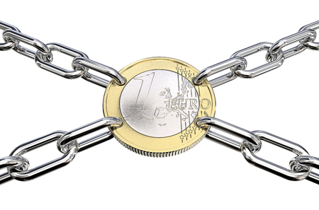 Financial Union. Coin with holes connected with Chain Links in 4 directions.  3d Render.