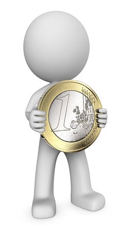 silver coins: Money. Dude 3D character holding large Euro Coin. 3d Render.