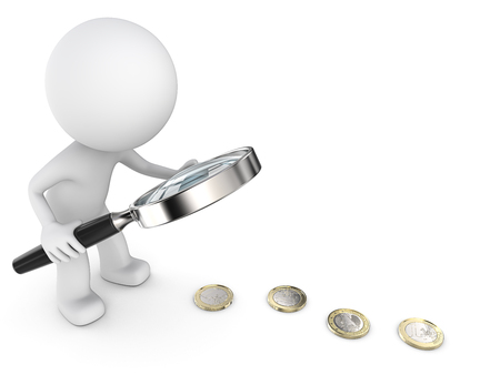 silver coins: Follow the Money. Dude 3D character with Magnifying searching for money. 3d Render. Stock Photo