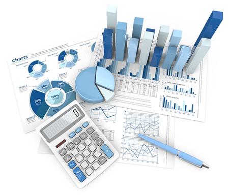 Abstrakter Finanzarbeitsplatz. 3D-Illustration von Finanzdokumenten 3D-Grafiken und Kreisdiagramme. Stift und Taschenrechner. Ansicht von oben. Blaues Thema. Standard-Bild