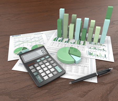 Abstracte kantoorwerkplek. 3D-afbeelding van financiële documenten, 3D-grafieken en cirkeldiagrammen op houten achtergrond. Pen en rekenmachine. Groen thema.