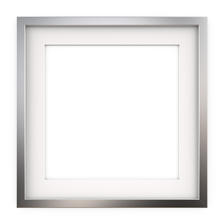 Quadratischer Bilderrahmen aus Metall. 3D übertragen von klassischem quadratischem Metallrahmen mit weißem Passepartout. Leer für den Kopierbereich. Standard-Bild