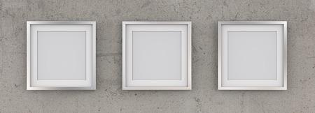 3 quadratische Bilderrahmen aus Metall auf grobe Betonwand. Reihe von 3 quadratischen Metallrahmen auf rauer Betonmauer mit weißem Passepartout. Leer für den Kopierbereich. 3D übertragen. Standard-Bild