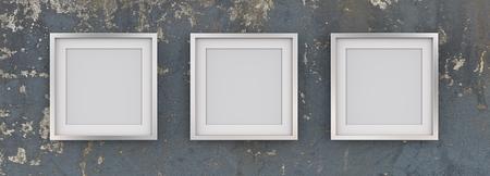 3 quadratische Bilderrahmen aus Metall auf abgenutzte blaue Wand. Reihe von 3 quadratischen Metallrahmen auf Blau getragener Schmutzwand mit weißem Passepartout. Leer für den Kopierbereich. 3D übertragen.