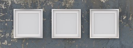 3 Square Picture Frames of Metal on Worn Blue Wall. Row of 3 Square Metal Frames on Blue worn grunge wall with white Passe-partout. Blank for Copy Space. 3D render. Stock Photo