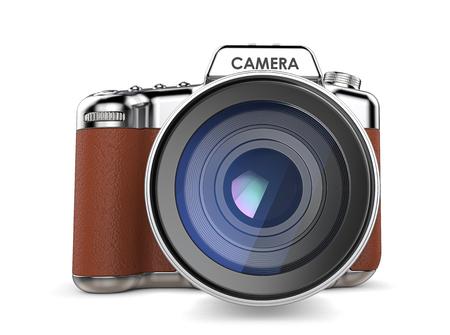 Retro camera. Niet-merkgebonden SLR-camera vintage retro-stijl. Vooraanzicht. 3D render. Stockfoto
