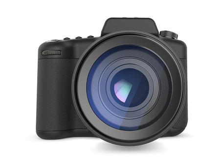 SLR-camera. Niet-gemerkte spiegelreflexcamera. Generiek ontwerp. Vooraanzicht. 3D render.