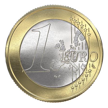 Eén euromunt. Vooraanzicht, geïsoleerd op een witte achtergrond. 3D render. Stockfoto