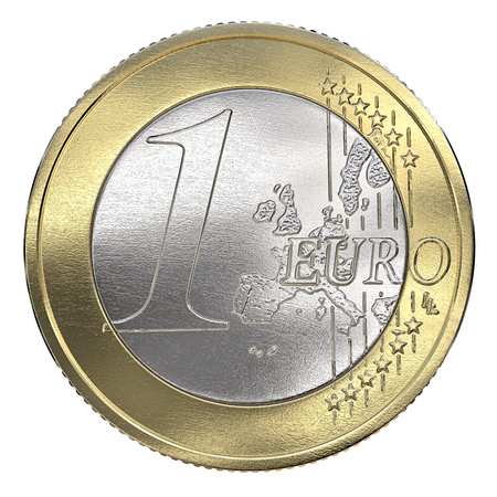 One Euro Coin. Front view, Isolated on a white background. 3d Render.