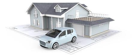 Huis. Blauwe generieke auto en huis met licht van vensters op Blueprint. 3D render.