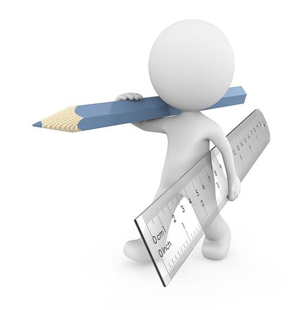 Werk. Kerel 3D personage met grote transparante plastic liniaal en blauw potlood. 3D render.