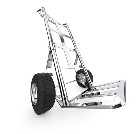 Steekwagen. Perspectief van een steekwagen van metaal. 3D render. Stockfoto