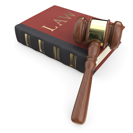The Law. Law book and hammer. 3D render.