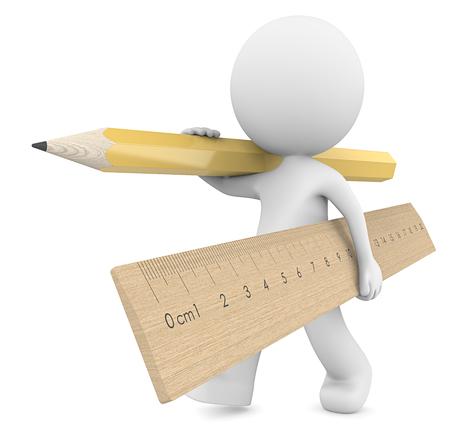 School. Kerel 3D karakter met grote houten liniaal en geel potlood. 3D render.
