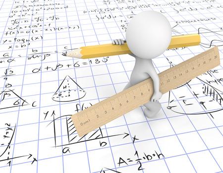 Doe de wiskunde. Kerel 3D karakter dat grote houten Liniaal en geel Potlood draagt. Lopen op roosterpapier met wiskundige symbolen. 3D render.