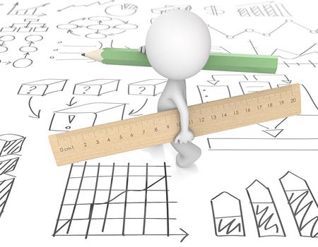 Op kantoor. Kerel 3D karakter dat grote houten Liniaal en groen Potlood draagt. Schetsen met zakelijke grafieken grafieken. 3D render. Stockfoto