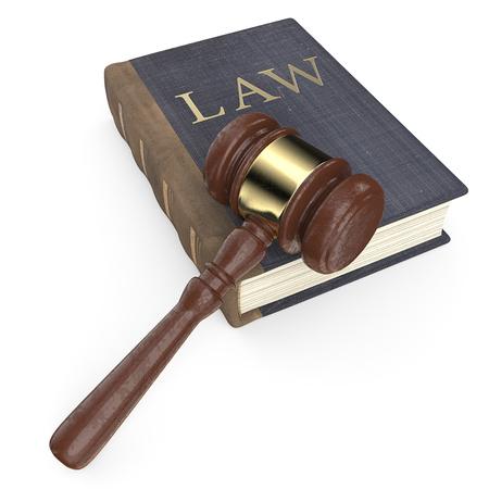 De wet. Vintage blauw leer en doek Wetboek en hamer. Versleten textuur. 3D render. Stockfoto