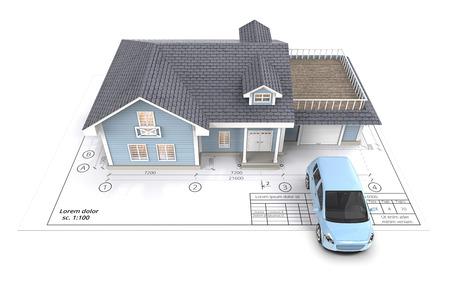 Thuis en auto. Blauwe generieke auto en huis met licht van vensters op Blueprint. Bovenaanzicht. 3D render.