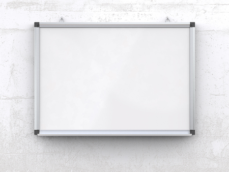 Whiteboard on concrete wall. Blank Whiteboard with marker pens on rough white concrete wall. Scratched surface, blank for copy space. 3d render,