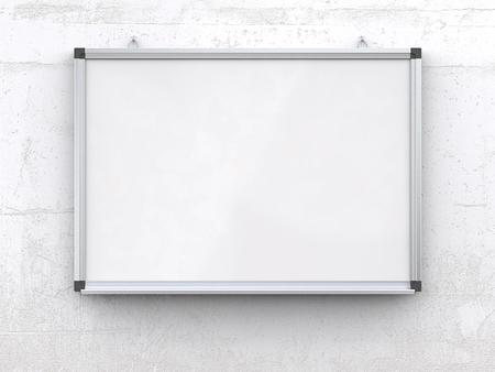 Whiteboard op betonnen muur. Blanco whiteboard met markeerstiften op ruwe witte betonnen muur. Gekrast oppervlak, leeg voor kopie ruimte. 3d geef terug,