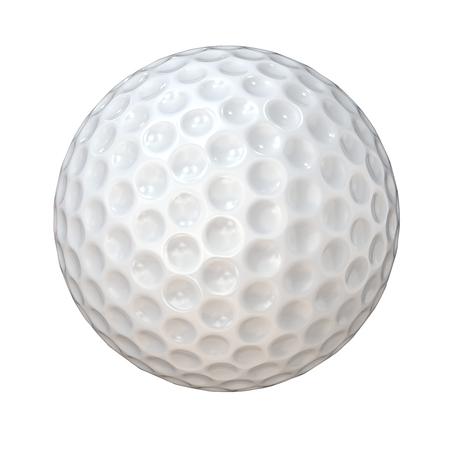 Geïsoleerde Golfbal. Klassieke witte golfbal. Geïsoleerd op witte achtergrond 3D render.